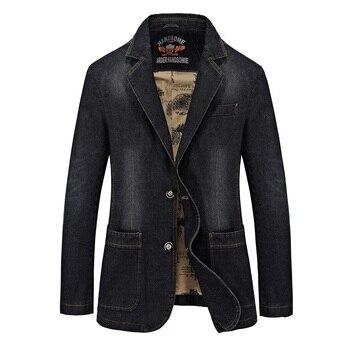 Brand Denim Men Blazer masculino Jacket Slim Fit Casual Autumn Winter Blazer Men Suit Fashion Jeans Blazer Jacket M-3XL