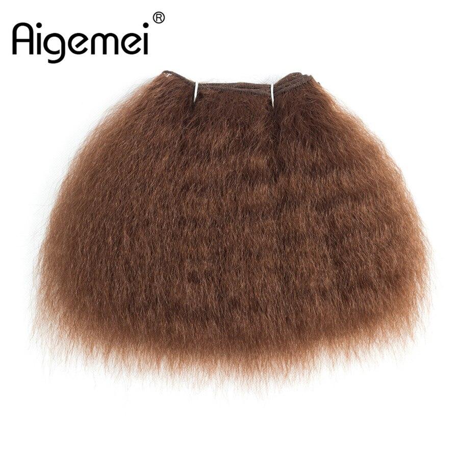 Aigemei синтетических курчавые волосы прямые Weave Связки для Для женщин Kanekalon Инструменты для завивки волос жаропрочных волокна утка 1 шт. ...