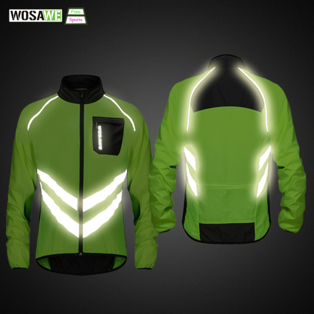 WOSAWE High Visibility Cycling Men's Windbreaker Waterproof Light Weight Safety Cycling Jacket Raincoat Mountain Bike Clothing