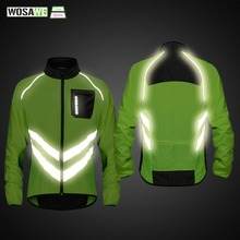 WOSAWE High visibility Cycling Mens Windbreaker Waterproof Light Weight Safety Jacket Raincoat Mountain Bike Clothing