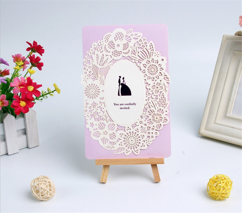 30Pcs Laser Cut Lace Wedding Invitations Cards Romantic Flowers ...