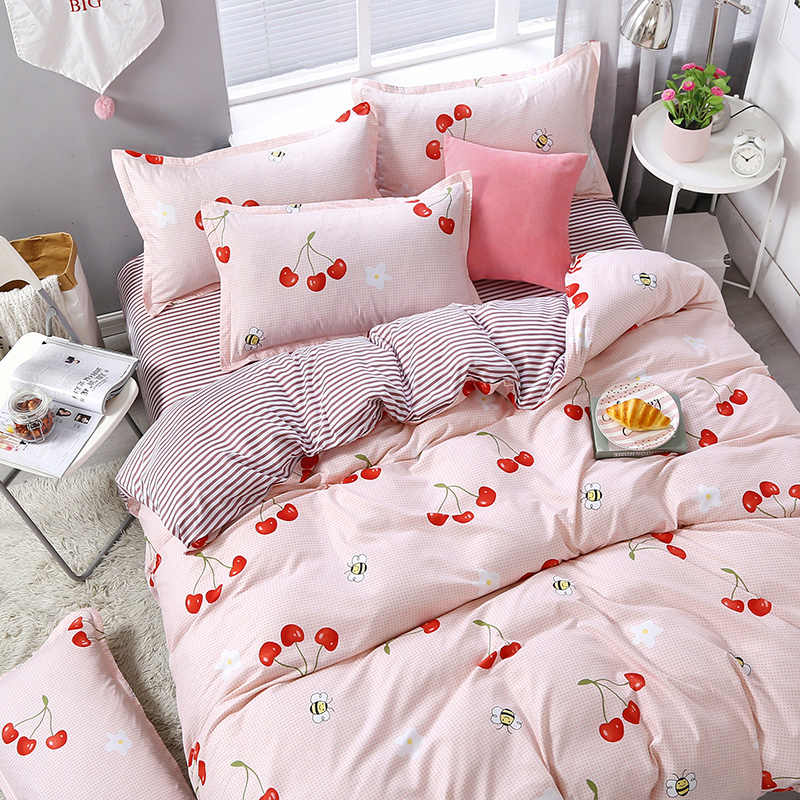 3/4pcs/set Pink Cherry Printing Textile Bedding Set Include Duvet Cover &Sheets&Pillowcases Cover Comfortable Home Bed Set