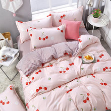 3/4pcs/set Pink Cherry Printing Textile Bedding Set Include Duvet Cover &Sheets&Pillowcases Cover Comfortable Home Bed Set(China)