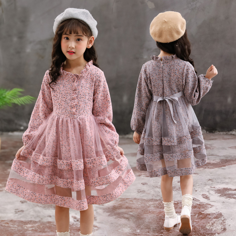 Elegant Dress For Girls 4 5 6 7 8 9 10 11 12 Year Autumn Floral Long Sleeve Dress 2018 New Fashion Christmas Dress Toddler Cloth baby vintage dress 2018 new fashion autumn kids long sleeve dress cotton clothes for teenage girls teens 4 5 6 7 8 9 10 12 14