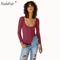 Nadafair 95 Cotton Knitting Low Cut O Neck Long Sleeve Skinny Casual Bodysuit Women Sexy Autumn