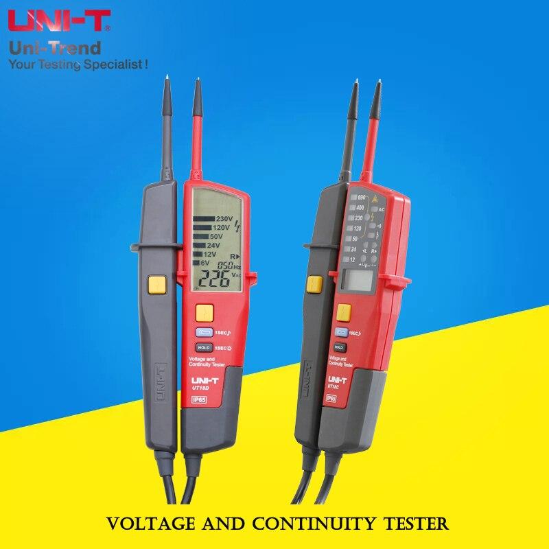 UNI-T UT18D/UT18C testeur de tension et de continuité; IP65 étanche/test RCD/test de rotation de position de phase/éclairage intégré