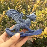 Natural rock hand carved Flying beast ornaments lapis lazuli crystal sculpture