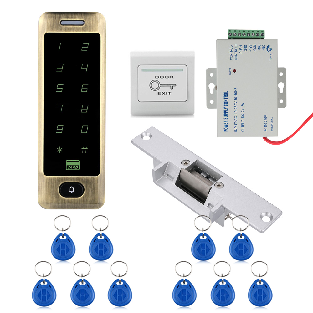 Waterproof Metal Touch 8000 Users Door RFID Access Control Keypad Case Reader NO Electric Support Card,Password Card + Password wg input rfid em card reader ip68 waterproof metal standalone door lock access control with keypad support 2000 card users