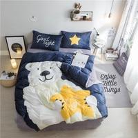 Home textile,cute bear Print 4Pcs bedding sets luxury Fleece fabric Duvet Cover Bed sheet Pillowcase,Queen size,Free shipping