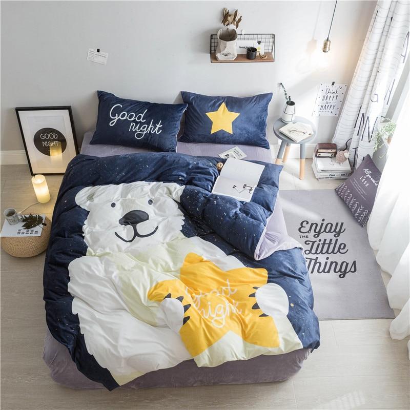 Textile à la maison, ours mignon Imprimé 4 pièces ensembles de literie de luxe Polaire tissu Housse de couette drap de Lit Taie D'oreiller, taille Queen, livraison gratuite