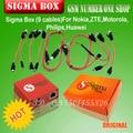 100% Caja Original Sigma Sigmabox Conjunto Completo Para El Teléfono Móvil Desbloqueo de Flash & Reparación Para China Teléfono Móvil/Nokia con 9 Cable