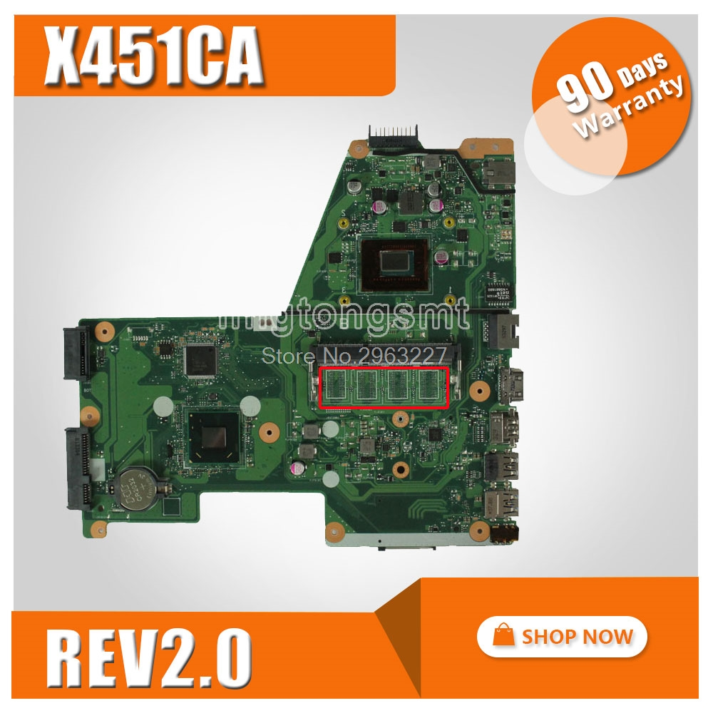 Original for ASUS Laptop Motherboard X451C X451CA F451 F451C Mainboard X451CA REV2.0 PN-60NB0330-MB3060 With CPU DDR3 100% test