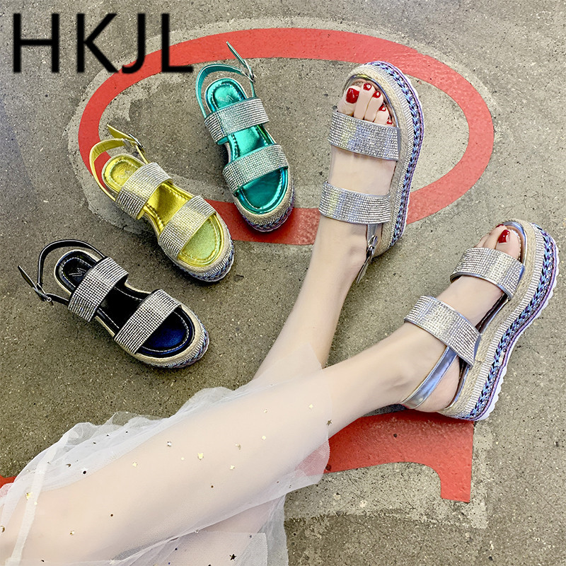 HKJL Sandals Gladiator-Shoes Platform-Bottom Water-Drill Open-Toe Summer New Flax A661