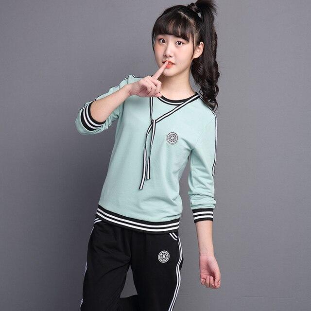 f0033e3c032f Подросток Обувь для девочек трек Костюмы с длинным рукавом детская  спортивная одежда наряды спортивные костюмы для