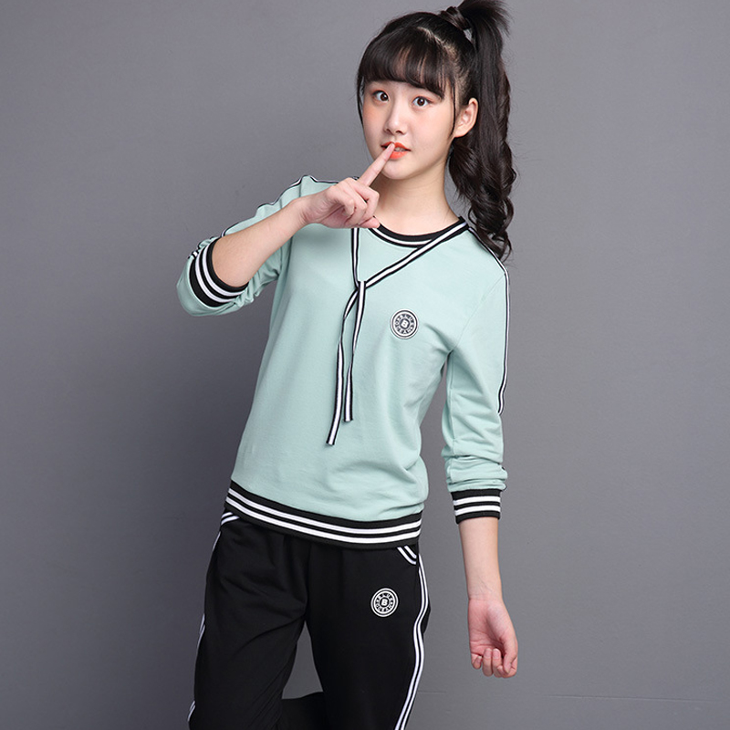 Teen Girls Tracksuits Long Sleeve Kids Sportswear Outfits Girls Sports Suits School Children Clothing Sets 10 12 14 16 Year