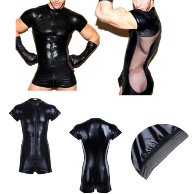 Man's Sexy Exotic Short Sleeve Jumpsuit Patent Leather Costumes with Front Zip For Bar Clubwear Stripper  Party Fancy Dress