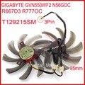 Free Shipping 2pcs/Lot T129215SM 95mm 12V 0.25A VGA Fan For Gigabyte GVN550WF2 N56GOC R667D3 R777OC Graphics Card Cooling Fan