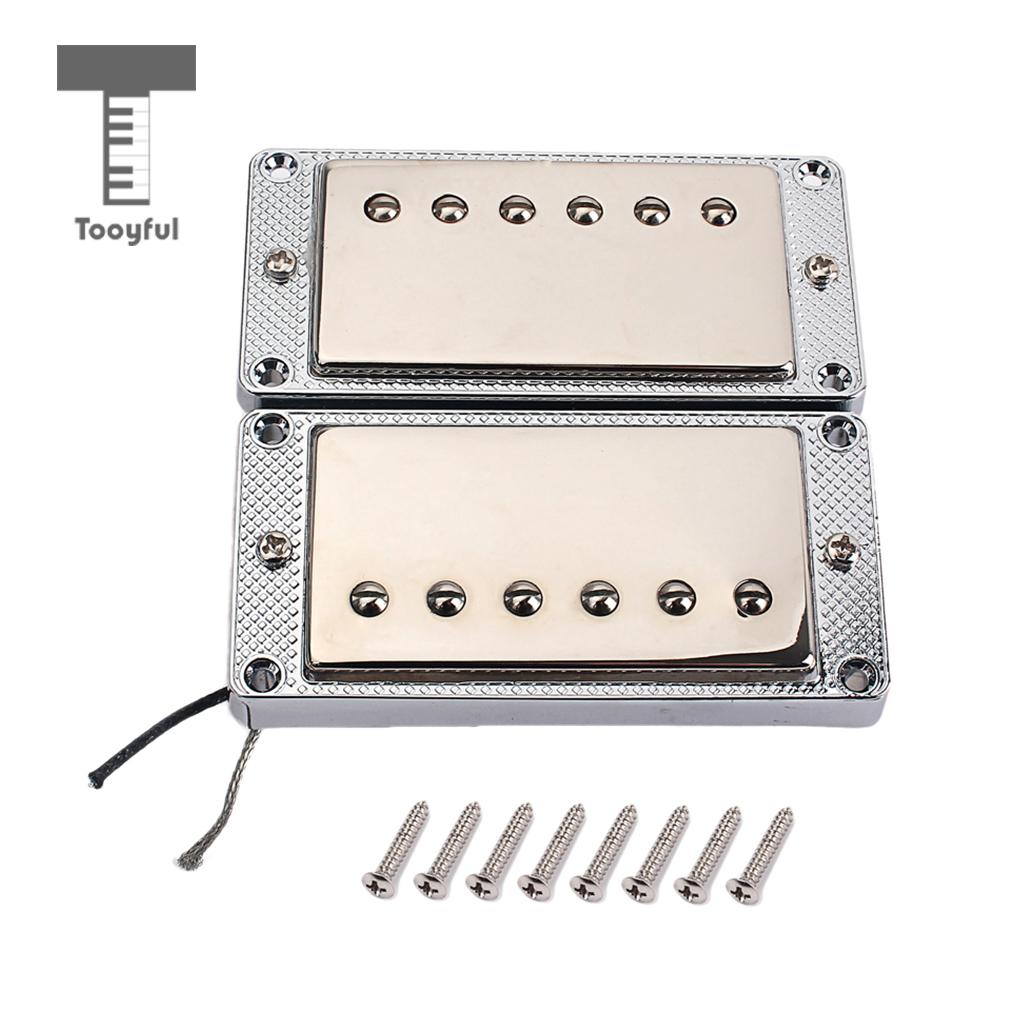Tooyful 1 Set Alloy 6 String Guitar Wired Bridge Neck Pickup with Cover for LP Electric Guitar Parts kmise single coil pickup for electric guitar parts accessories bridge neck set black with chrome gold frame