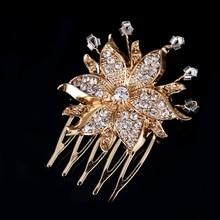 Women Alloy Rhinestone Hair Comb Fashion Wedding Crystal Flower Jewelry