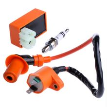 Motorcycle Racing Performance CDI & Ignition Coil & Spark Plug Kit For GY6 50CC 125CC 150CC цены
