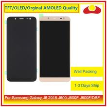 50 adet/grup DHL Samsung Galaxy J6 2018 J600 J600F J600FN lcd ekran Ile dokunmatik ekran digitizer Paneli Pantalla Komple