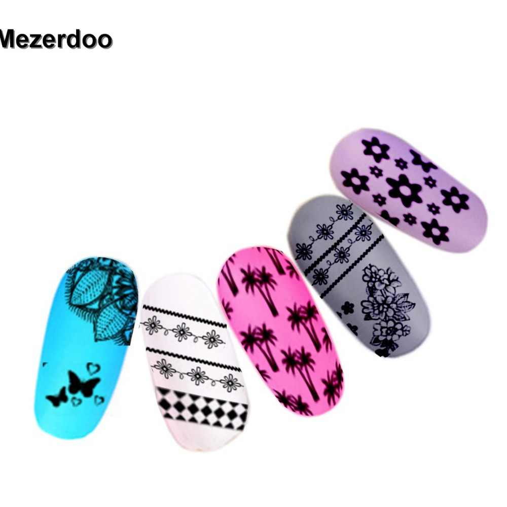 Mezerdoo Super Big Lace Side Flower Stamping 18x25cm Nail Art DIY Tips Salon Express Stamp Plates Templates Stencils M38