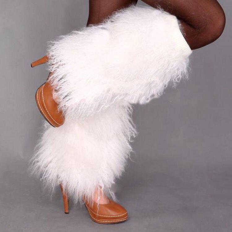 Lange haren Mongoolse lamsbont been warmer / boot topper / echte - Kunsten, ambachten en naaien - Foto 1