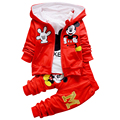 2016 New Chidren Kids Boys Clothing Set Autumn Winter 3 Piece Sets Hooded Coat Suits Fall Cotton Baby Boys Clothes Mickey T657