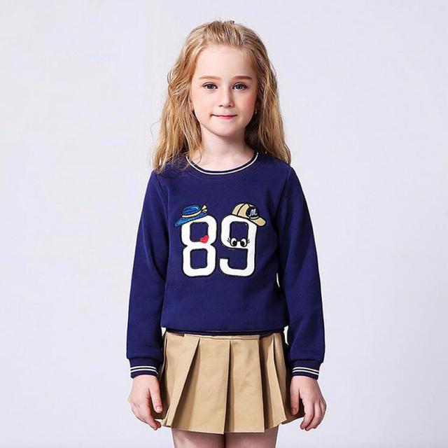 Buenos Ninos Primavera Otoño niña O-cuello de la Ropa de Los Niños de La Muchacha de Impresión de manga Larga bordada Sweatershirt Capa
