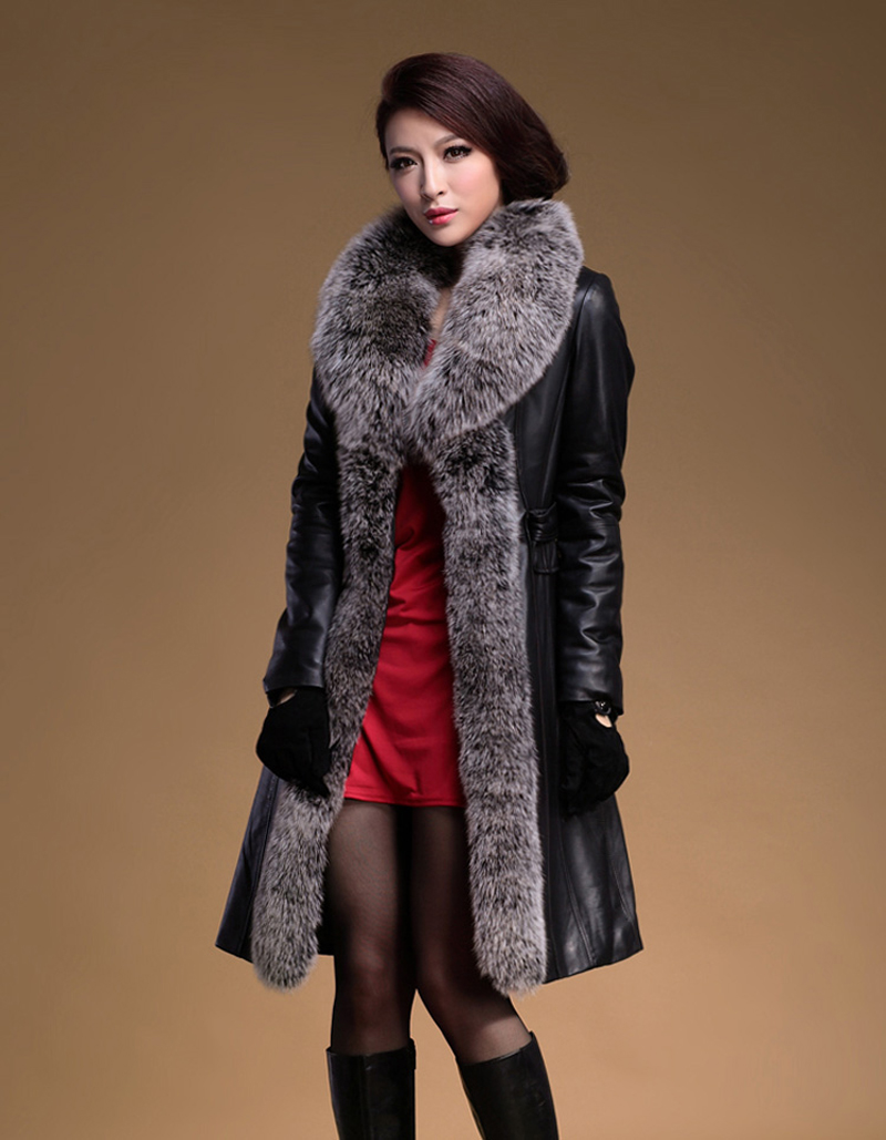 Brand New Woman s Winter Fashion Genuine Sheepskin Down Leather Coat Huge Natural Fox Fur Collar