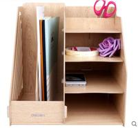 Combination Multi function Stationery Holder Wooden Desktop File Organizer Office Accessories