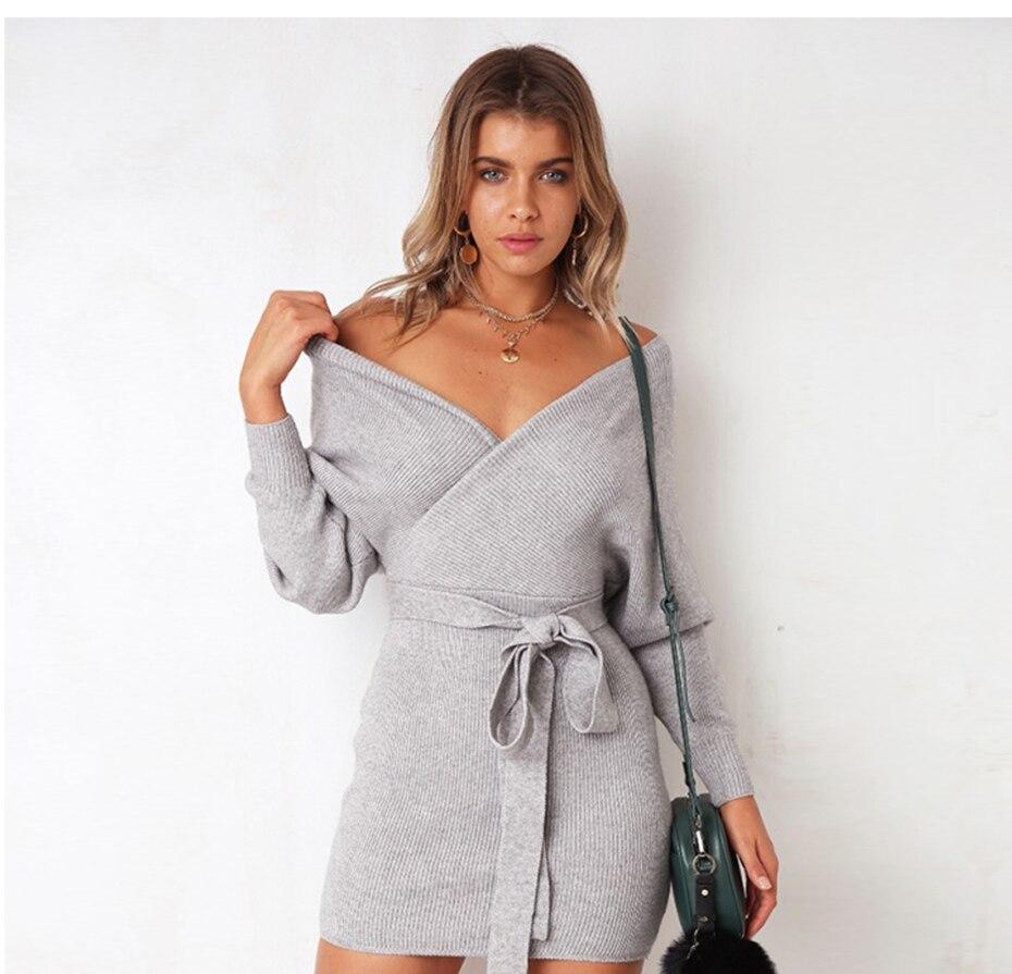 fda4b40ec8 Dropwow Warm Sweater Dress Women Long Sleeve Bandage Wrap Dress Sexy ...