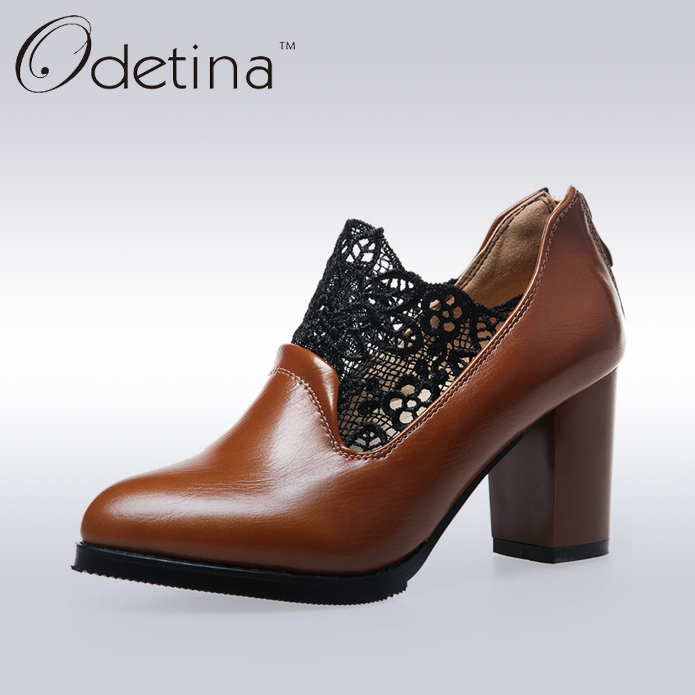 Odetina Fashion Ladies Chunky Heel Pointed Toe Pumps Black Lace Women Slip on Casual Shoes Brown Women Back Zipper High Heels odetina fashion women pointed toe rivets loafers 2017 spring