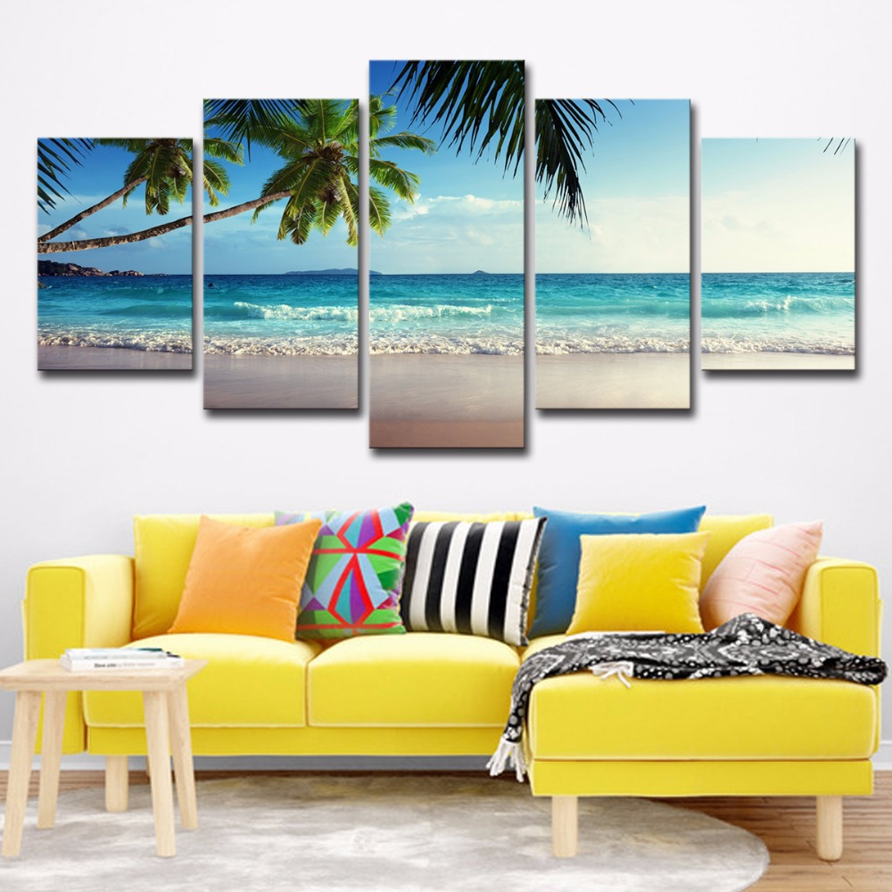 5P0061 Pictures Frame Home Decor Printed Poster 5 Pieces Coconut Tree Blue Sky And Ocean Beach Seascape Wall Art Canvas Painting PENGDA (3)