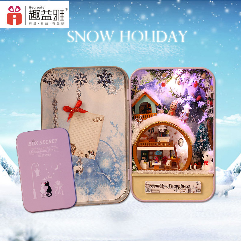 iiE CREATE DIY Doll House Snow Holiday Handmade Box Secret Furnitures Miniature Dollhouses Model Birthday Gift Toys for Kids disney princess brass key 2003 holiday collection porcelain doll snow white