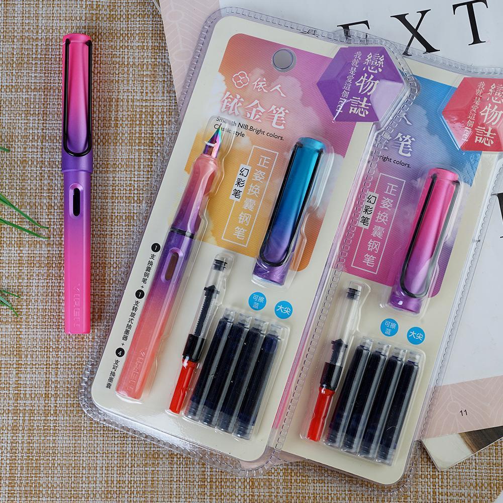 1Set Gradient Fountain Pen Set With Magic Pen Tip 0.38mm An Ink Pen Pen Bag Magic Pen