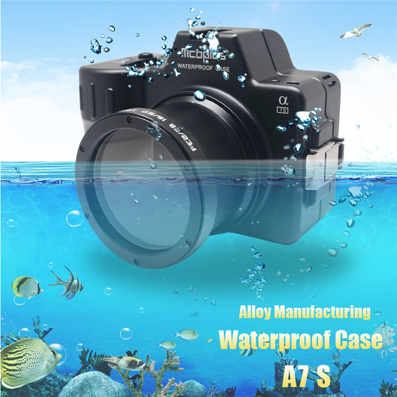 Mcoplus Alloy Manufacturing Waterproof Case for Sony A7S Camera 100M/325ft Underwater Camera Diving Housing Bag 40m 130ft waterproof underwater camera diving housing case aluminum handle for sony a7 a7r a7s 28 70mm lens camera