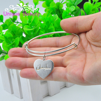Wholesale 925 Sterling Silver Adjust Bangle Personalized Arabic Heart Wire Bangle Mom S Gift