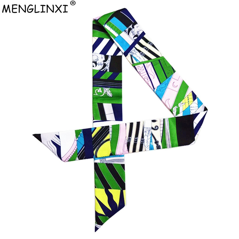 Geometric Blue Patchwork Skinny Scarf 2020 New Fashion Brand Silk Scarf For Women Print Head Scarf Long Handle Bag Scarves Wraps