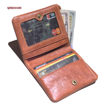 QIMANSHI Wallet Genuine Leather Men Wallet High Quality Zipper Short Men Purse Designer Business Card Holder Male