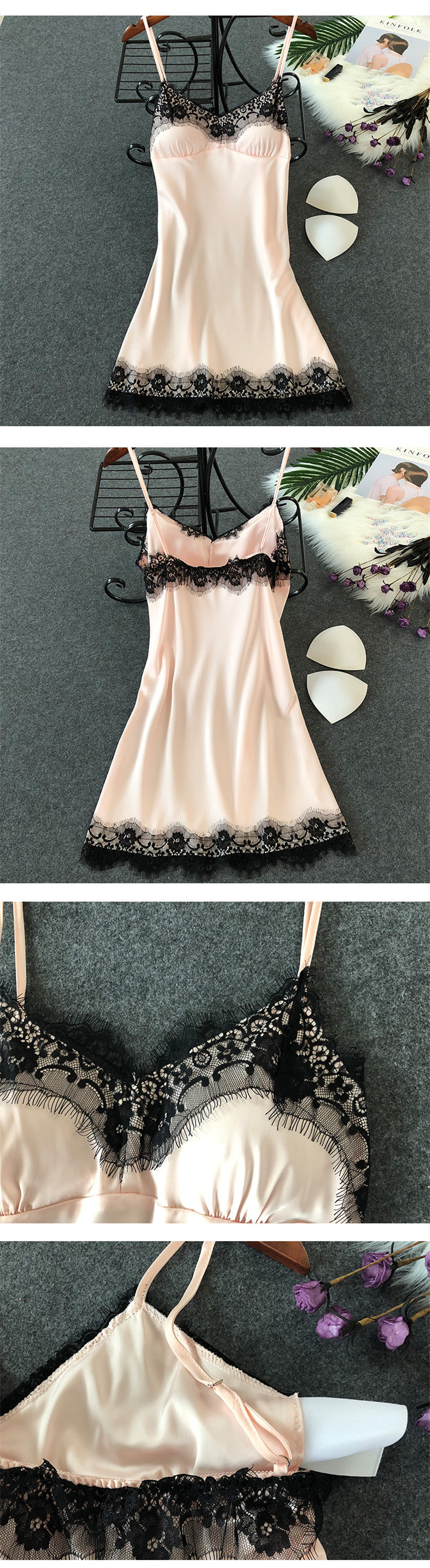 HTB1Qg qOXzqK1RjSZFvq6AB7VXaR - Women's Sexy Lingerie Silk Nightgown Summer Dress Lace Night Dress Sleepwear Babydoll Nightie Satin Homewear Chest Pad Nightwear