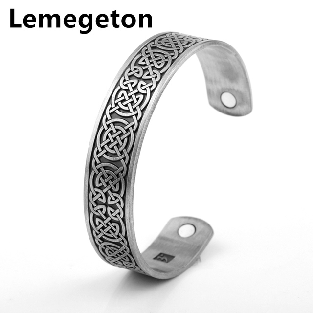 Lemegeton Magnetic Cuff Bracelet Arthritis Symptoms Pain Relief Zinc Alloy Antique Silver Tone Fashion Brand Jewelry
