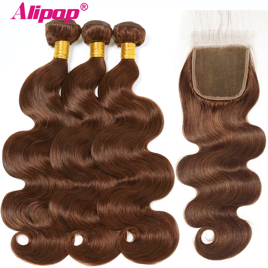 Alipop 4 Body Wave Hair Bundles With Closure Brazilian Hair Bundles With Closure Light Brown 100