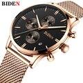 Лидирующий бренд Biden мужские часы водонепроницаемые часы светящиеся Роскошные модные стальные сетчатые часы с хронографом Дата Спортивные...