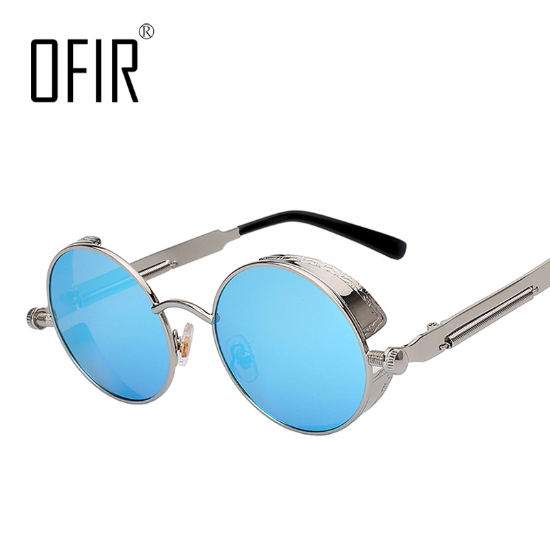 Gothic Steampunk Mens Sunglasses Coating Mirrored Sunglasses Round Circle Sun glasses Retro Vintage Gafas Masculino Sol SG-45