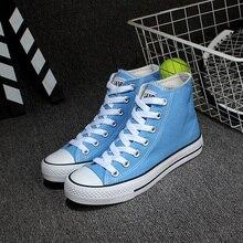 Livraison Gratuite Unisexe Toile Chaussures Laçage Haute Top Preppy Style À La Mode De sucrerie de couleur Toile Casual Chaussures Taille 35 ~ 43