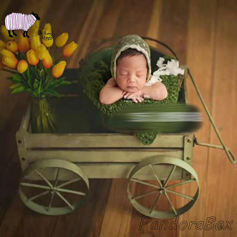 Newborn Baby Photography Props Wooden Car Basket Baby Photo Shoot Posing Iron Bed Basket Prop bebe Infant fotoshoot Accessories