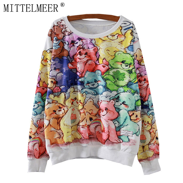 MITTELMEER 2017 New Autumn and Spring printed Sweatshirt  Women o-neck Causal Bear printing Sweatshirt tops for women