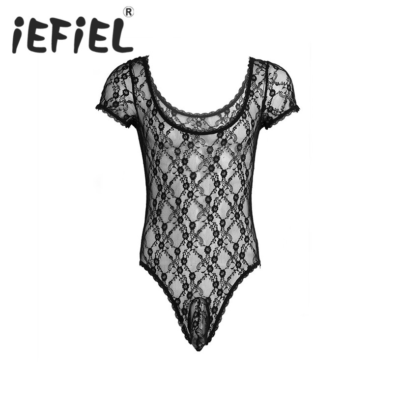 iEFiEL Adults Men Wetlook Lingerie Short Sleeve See Through Mesh Lace Floral Sissy Pouch One-piece Bodysuit Jumpsuit Nightwear