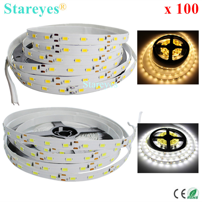 DHL Free shipping 100 Pcs High Brightness 5M 300 LED SMD 5630 5730 LED Strip DC12V Non Waterproof String Tape light lighting